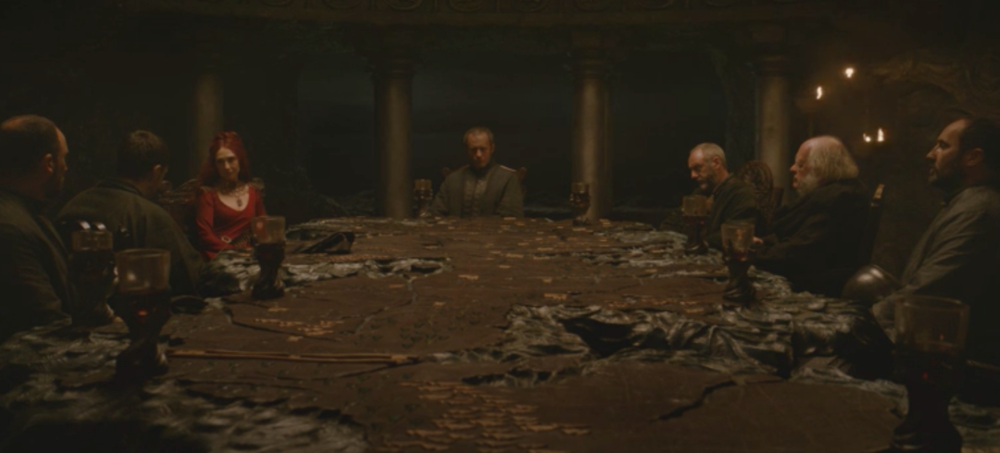 Stannis Baratheon and his advisors at the Painted Table in Dragonstone, former seat of House Targaryen in  The North Remembers  (S2E1)