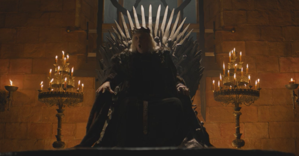 The Mad King Aerys sitting the Iron Throne in Bran's vision from   Blood of my Blood  (S6E6)