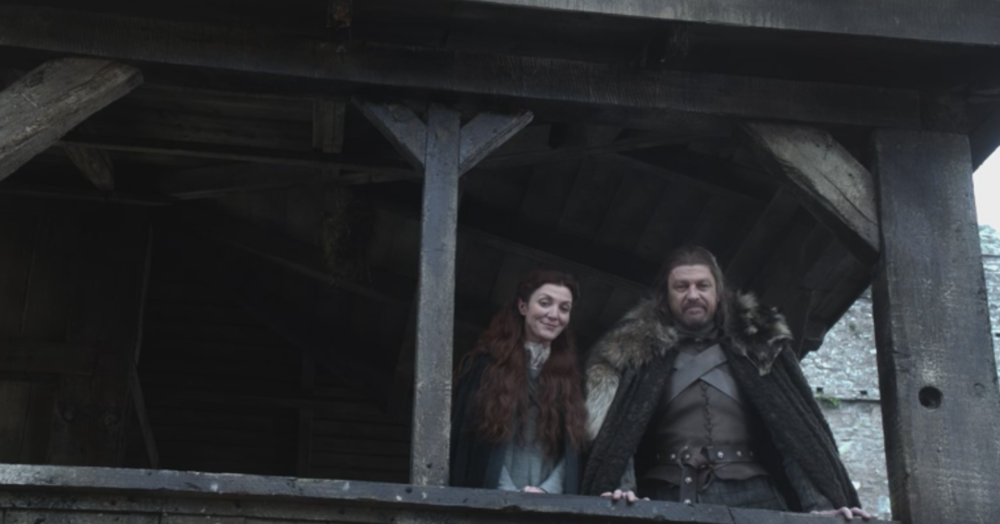 Lord Eddard and Lady Catelyn Stark of Winterfell watching their children in Winter is Coming (S1E1)