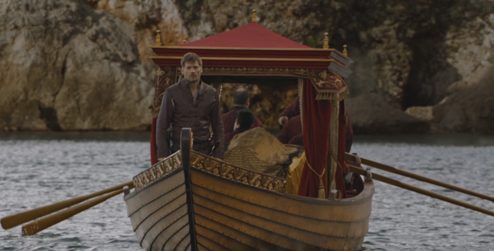 Myrcella Lannister under a golden shroud in   The Red Woman  (S6E1) , just as Maggie the Frog predicted