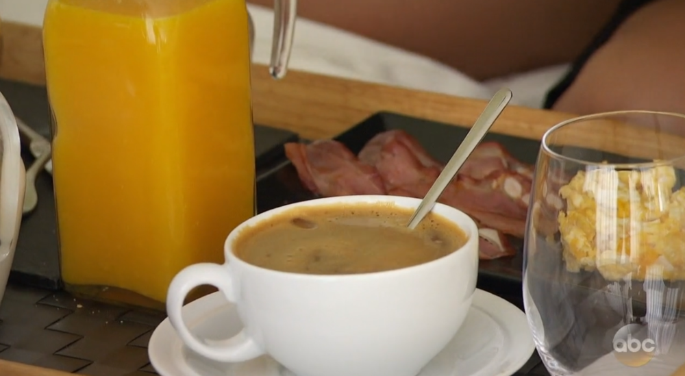 I'll give it a pass if it's a delicious Spanish ham, but either way I'm disappointed in the full coffee and orange juice and the empty wine glass!