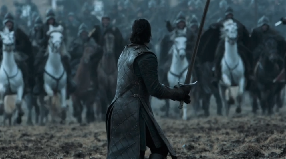 If it comes down to a one-on-cavalry charge fight, I'm picking cavalry. Bad choice, Jon.