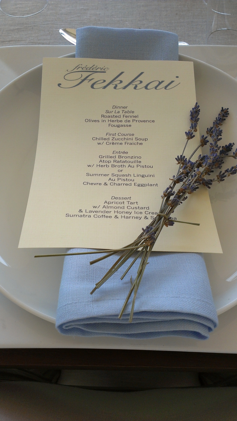 Menu card detailing Provencal inspired, mid summer meal.