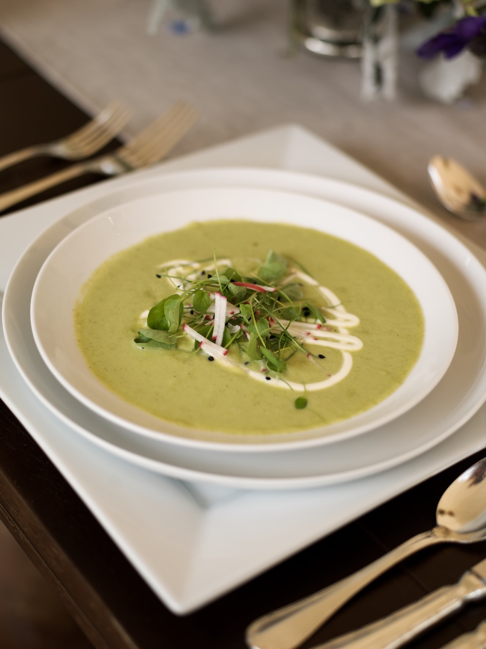 Chilled zucchini soup.