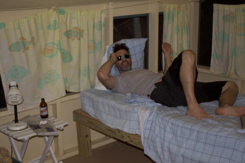 Nick Herman relaxing in camp