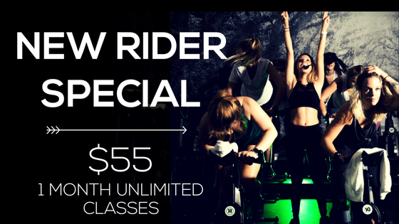 "ENTER CODE: 55UNLIMITED at checkout Anyone who hasn't rode in 6 months or who has never purchased the Intro 1 Month Unlimited Class Pass is eligible. This deal has been EXTENDED! Now available until the end of January!  To purchase online, choose ""Intro Offer - Let's Go, 1 Month Unlimited for $89"" and enter code 55UNLIMITED at checkout. Stop by, call or email the studio anytime for assistance.  ""I have spent $55 on one brunch before."""