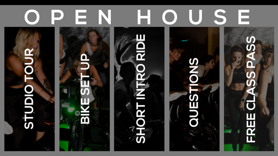 "JOIN US EVERY WEDNESDAY & SATURDAY FOR AN OPEN HOUSE!  - Wednesdays at 9:30am - Wednesdays at 6:30pm - Saturdays at 9:30am Check out the studio & childcare, get fitted for your complimentary shoes, get fitted on the bike, sit in or ride through 10 minutes of a class, ask all of your questions and get a free class pass!   Open to anyone! Email or call the studio to reserve your open house spot, or just stop on by! Or, feel free to create an account (under ""login"" on website) and book a bike for free on your own.    Open houses run 12/27 - 2/3"