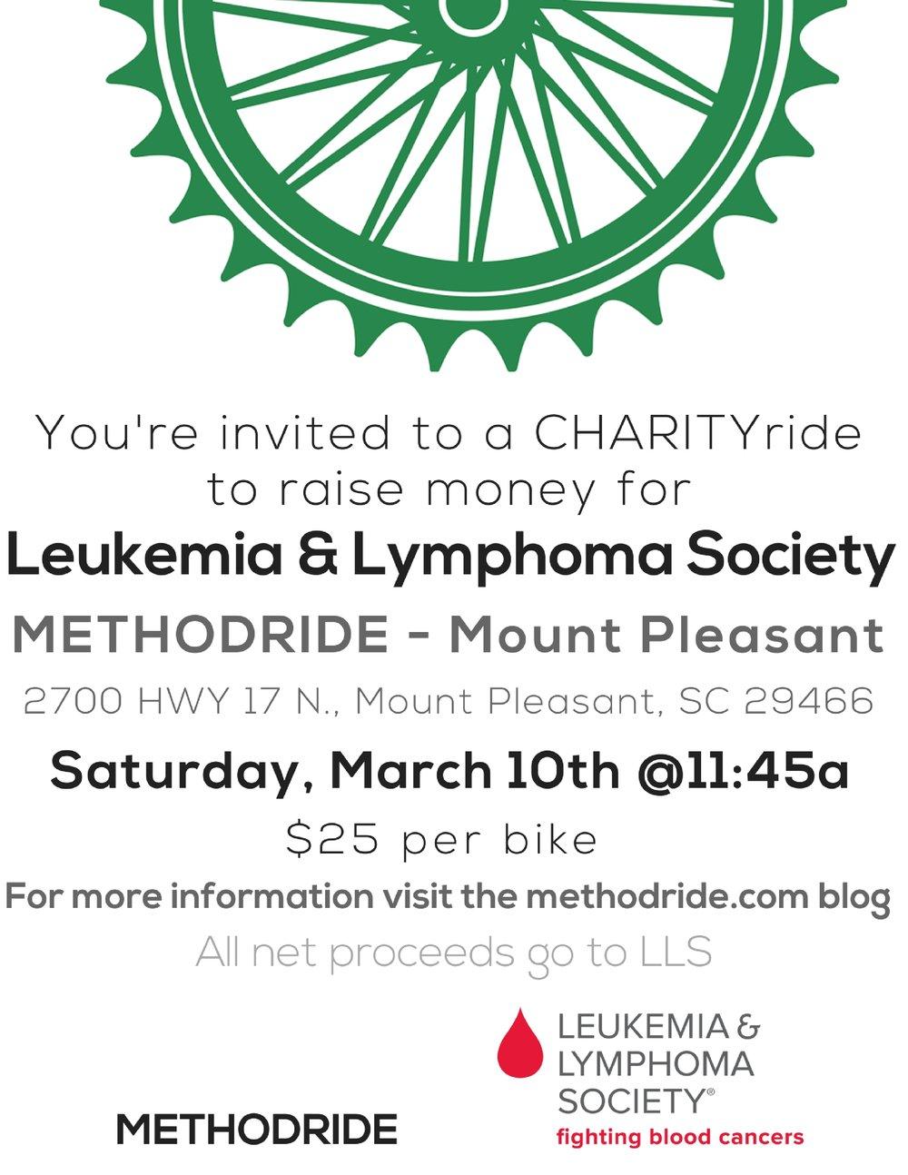 LLS CHARITYride - 3/10 @11:45am - $25