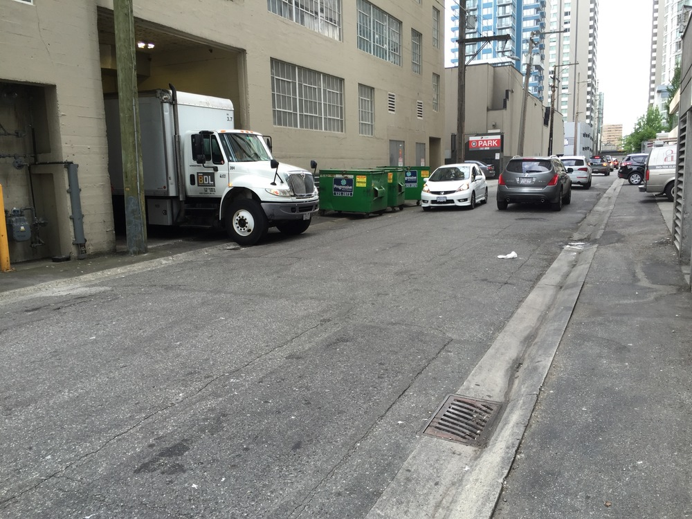 A typical 33' wide alley in the Coal Harbour area, west of Thurlow St.