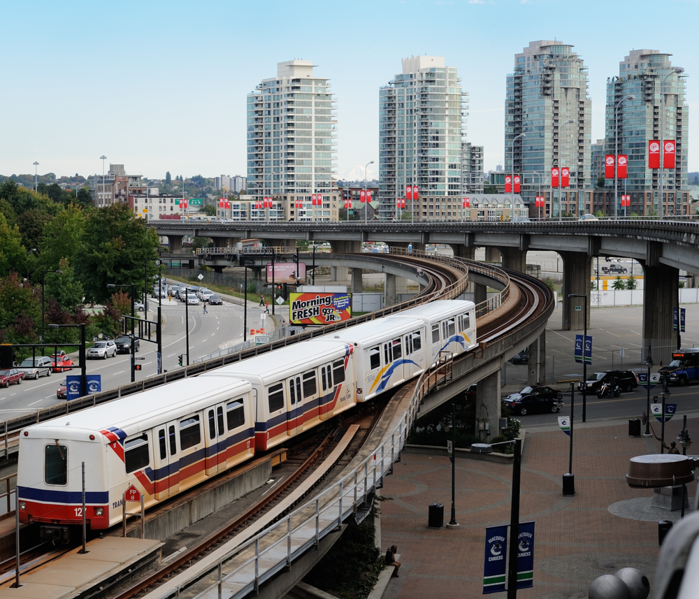 SkyTrain entering downtown Vancouver.