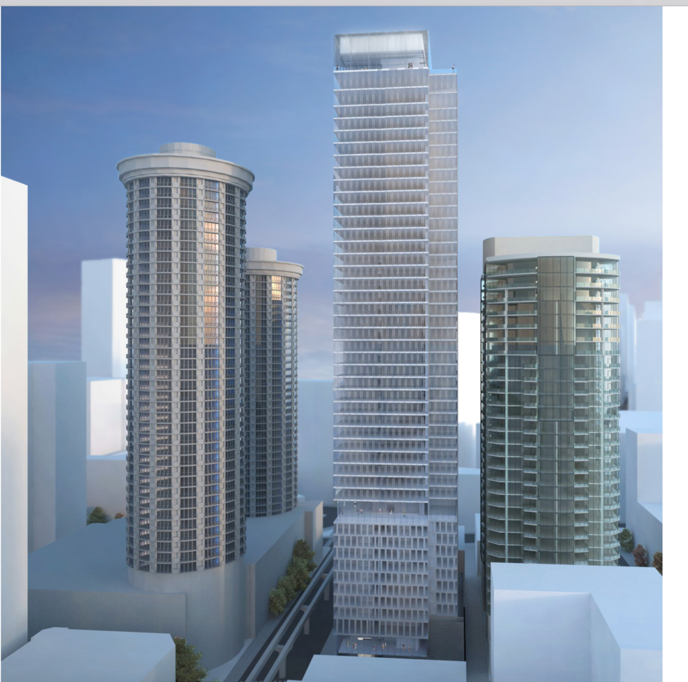Escala on the right, only 22 feet across the alley from the proposed 5th & Virginia project.