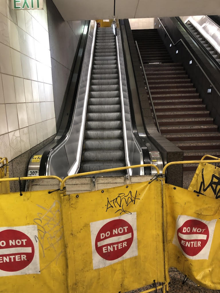 Escalators in the Westlake Transit Tunnel - On a recent day (12/22/2018), a downtown visitor coming into downtown on light rail and exiting in the Westlake Transit Tunnel would have encountered 5 escalators out of order and no city or transit personnel on hand to offer directions. Unfortunately, this is a common occurrence.