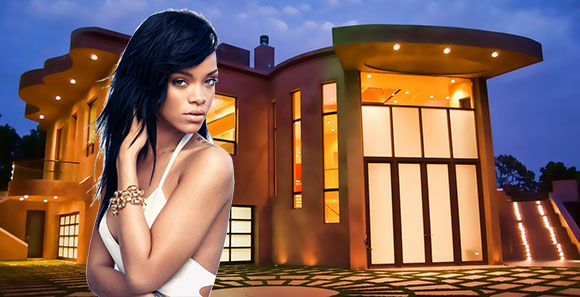 Rihanna and the house at 932 Rivas Canyon Road (Credit: Premier Digital Photography blog, DeviantArt)