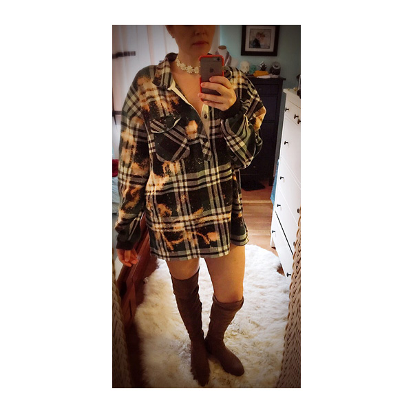 Bleached 90s Flannel Sweatshirt Grunge by Foxy Rae Unique  US$50.00