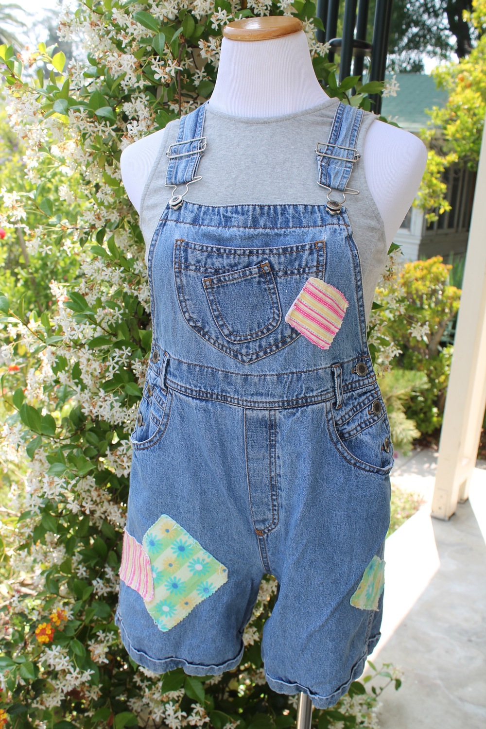 As If 90s Patchwork Short Overalls with Lace up Back Detail US$35.00