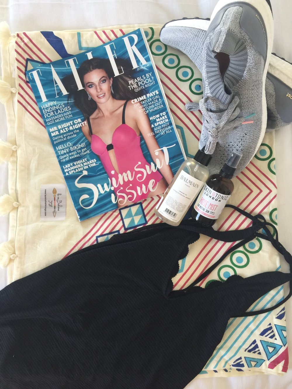 Holiday Essentials - Reading MaterialAdidas Boast TrainersSkin & Tonic Rose WaterBalmain Leave in Hair ConditionerTravel Yoga MatFashercise Gym Kit (variety)