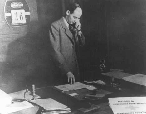 Raoul Wallenberg in his office at the Swedish Consulate