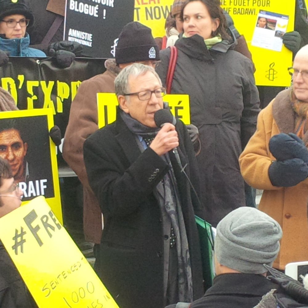 Irwin Cotler speaks at Badawi Rally