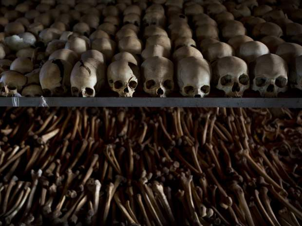 The Skulls and bones of some of those who were slaughtered during the 1994 genocide. (Photo credit: Ben Curtis, AP)