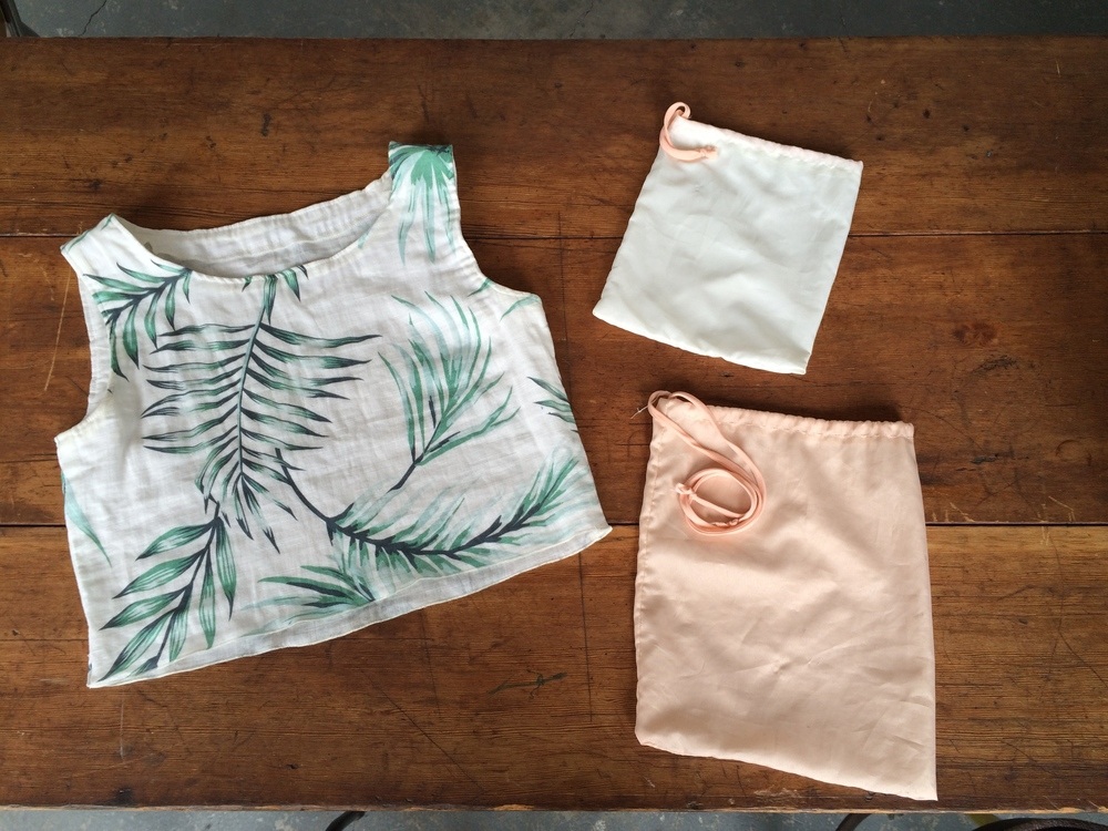 Kristina makes dreamy tops and pouches from left over fabric and...