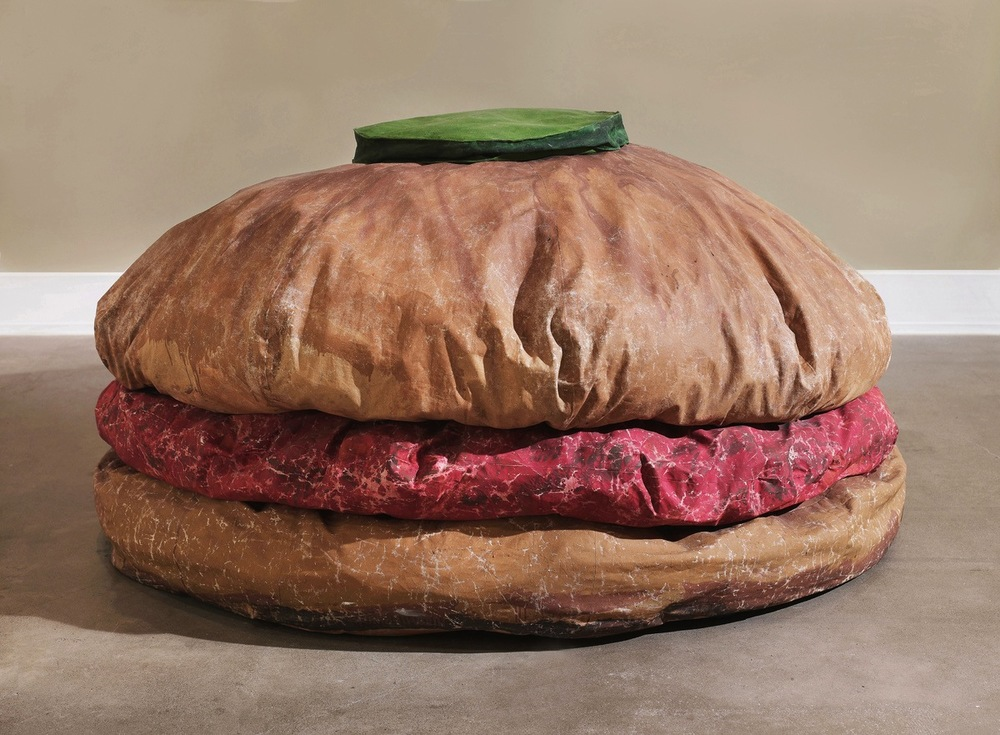 Claes Oldenburg's Floor Burger, created in collaboration with Patty Mucha, 1962