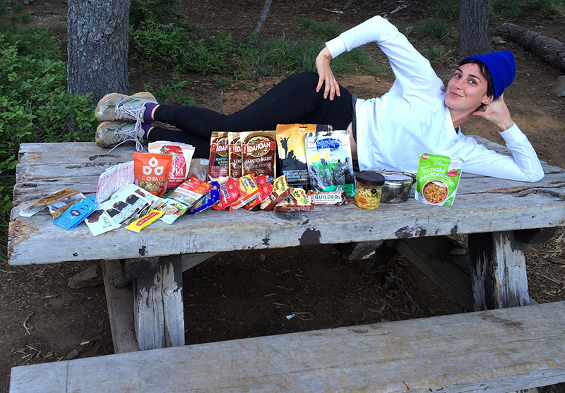 Powdered mash potatoes, beef jerky, ramen...living large on the PCT
