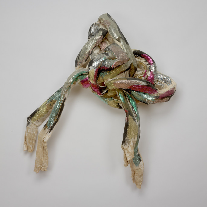 Lynda Benglis, Zita, 1972, cotton bunting, plaster, acrylic paint, and glitter over aluminum screen