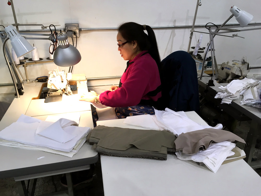 Ngoc sewing the rectangular tote.