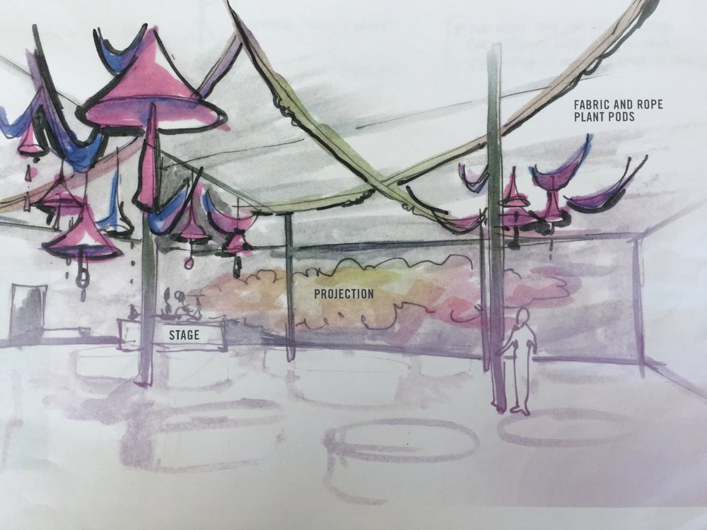 "Axiom's designs for the event featuring the hanging ""plants pods."""