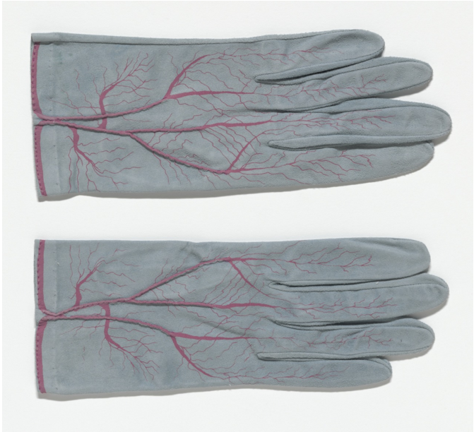 Glove (for Parkett no. 4), 1985, suede gloves with screenprint and hand-stitching, ed. 150