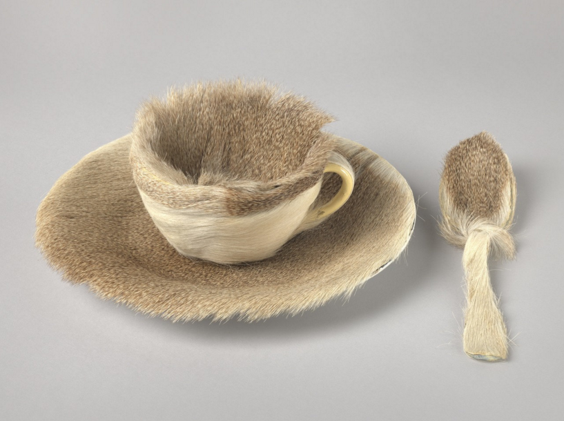 Object , Paris, 1936, fur covered cup, saucer, and spoon