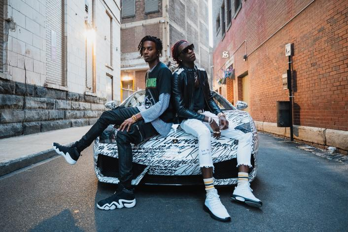 "Playboi Carti & Young Thung sporting Crazy adidas Originals (note the ""Crazy"" Lamborghini!)"