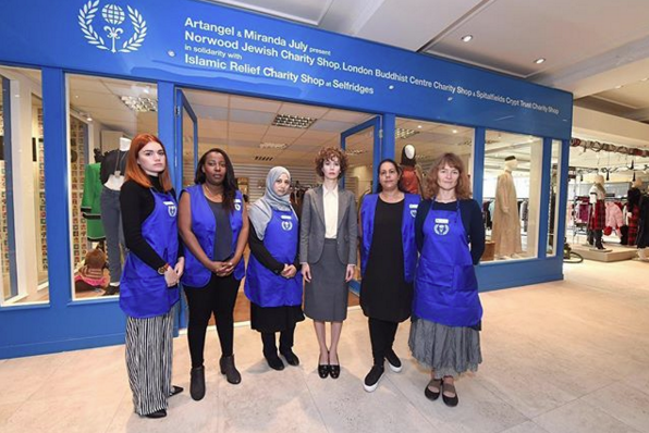 Artangel & Miranda July present Norwood Jewish Charity Shop, London Buddhist Centre Charity Shop & Spitalfields Crypt Trust Charity Shop in solidarity with Islamic Relief Charity Shop at Selfridges (2017). Image: @mirandajuly