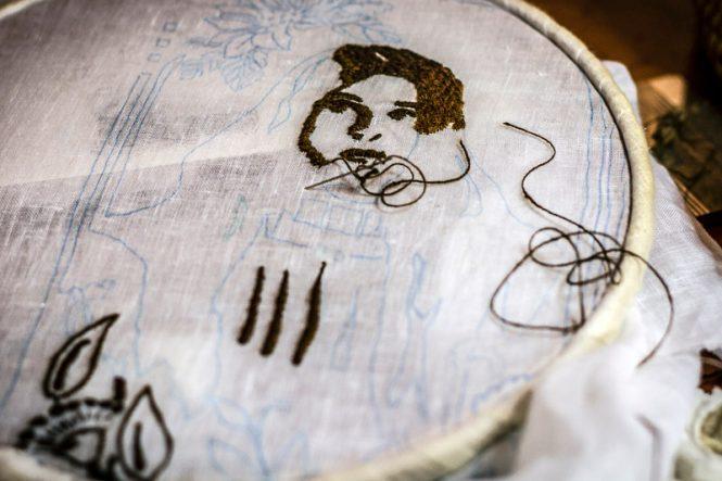 One of Chiara Vigo's embroideries using sea silk. Image: Pietro Melis