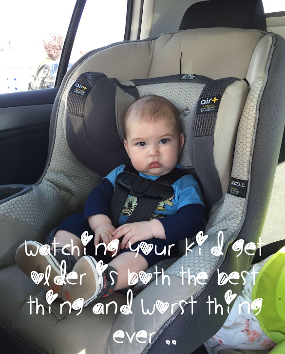 Yes his car seat is now rear facing just a cute photo. He does meet the length and weight reqirments for front face but California law requires rear facing till age 1 . So his seat is correctly rear faced . ( trying to avoid any lectures lol )