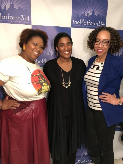 From L to R: De-Andrea Blaylock-Johnson, Brandy Cruesoe, and Host Dr. Raegan Johnson