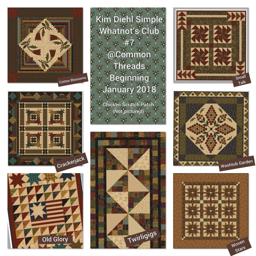 Common Threads & Kim Diehl bring you the loved Simple Whatnots Club#7 for 2018 featuring Kim's new fabric collection Helping Hands. There are EIGHT new simple and beautiful miniature quilt patterns exclusively for this club.  Many of the patterns have fun added bonuses such as recipes, an extra project or tips and tricks. These little miniatures are perfect for decorative wall hangings and table toppers!  Club #7 also offers the option to stitch the 6 month Stitch Along, Pride & Joy.   Club meets the 2nd Monday or 2nd Saturday of every month at 10 a.m  For more information  Click Here