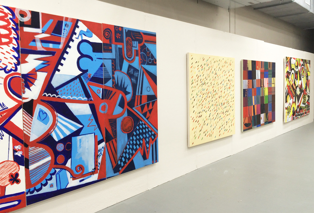 Installation shot (From left to right) Red, White and Blues, Everything Will Be Okay, Four Way, Rat-a-tat
