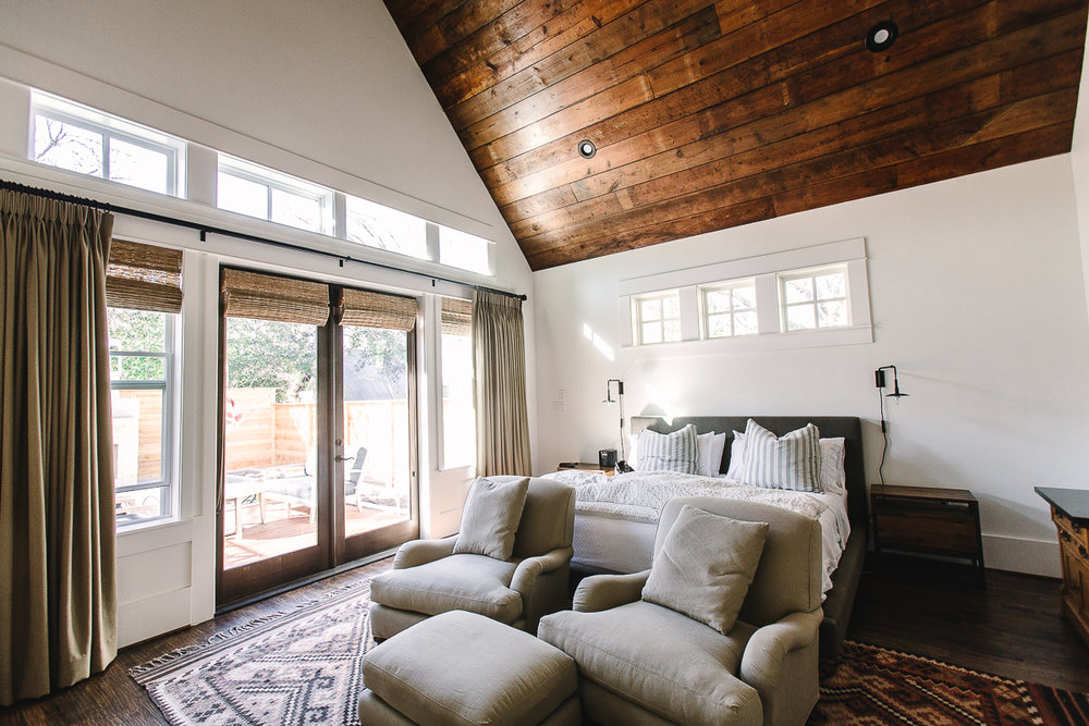 Salvage Wood Accent ceiling in a bedroom.