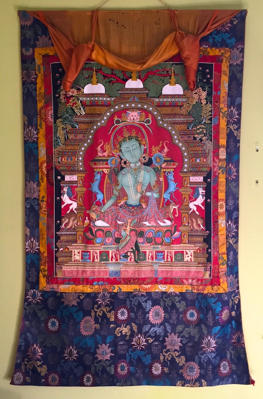 Thangka of Green Tara, painted by artist Kharma Thupten