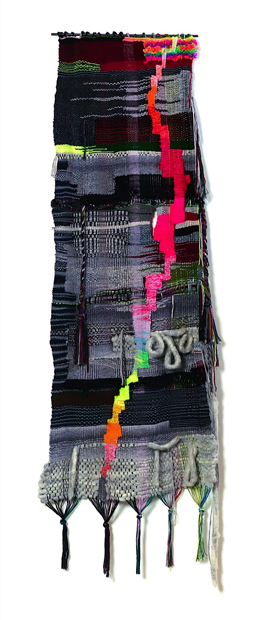 "2015, 78"" x 24"",  acrylic, wool, metalic threads, cotton"