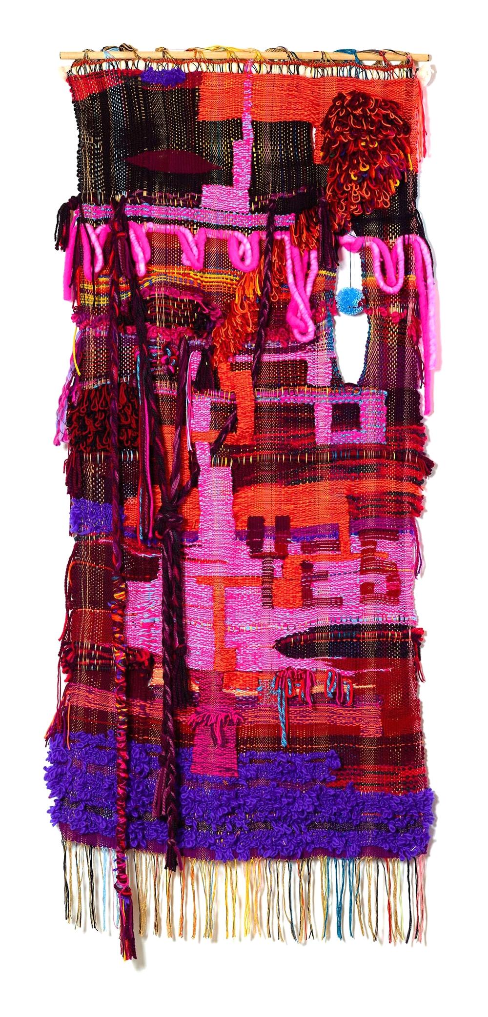 "2015, 86"" x 37"", acrylic, wool, cotton"