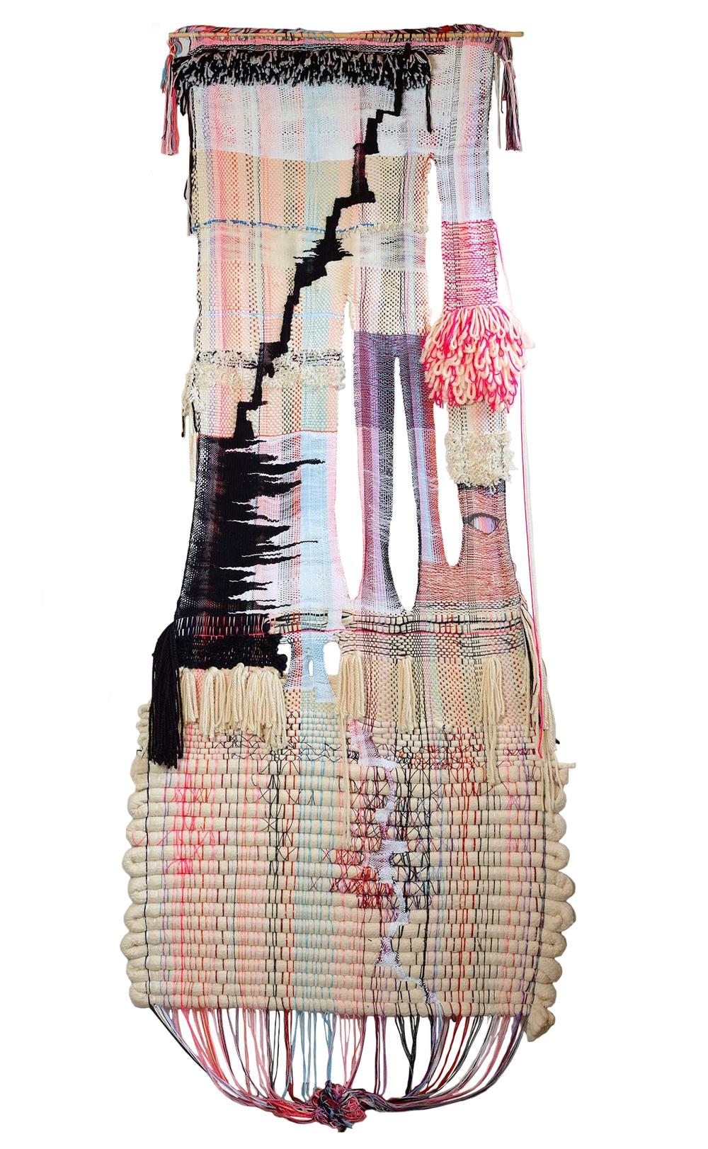 "2015, 107"" x 46"",  acrylic, wool, cotton"
