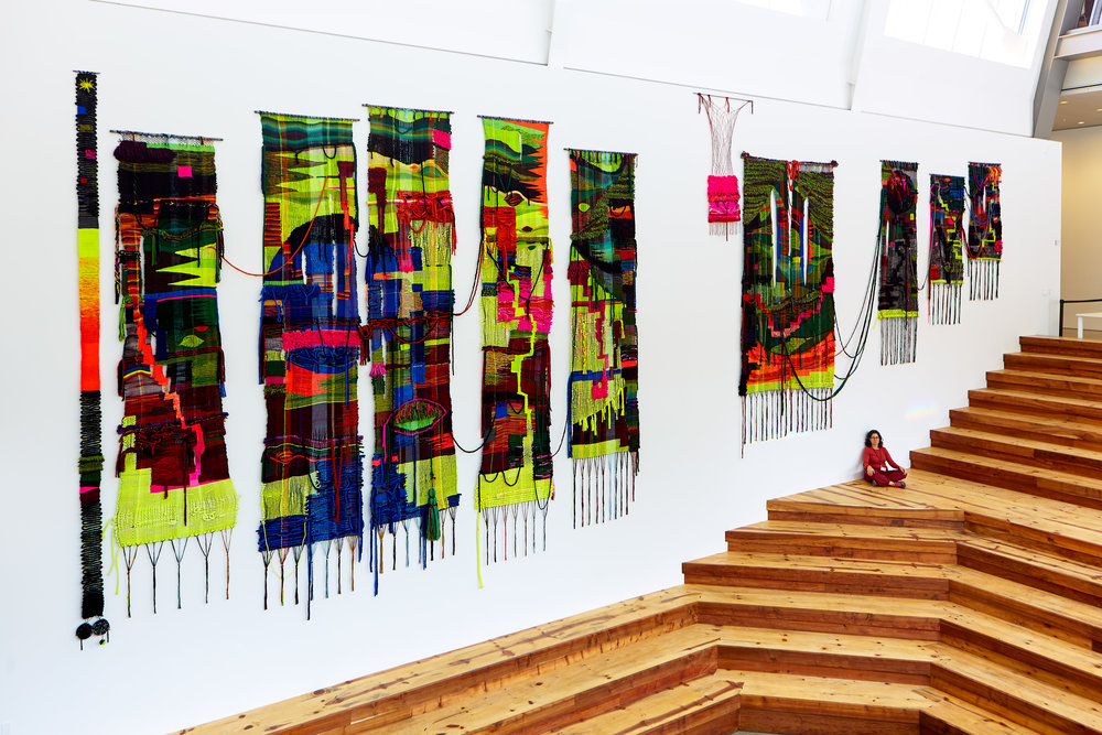 WALL size: 24' x 60',  wool, acrylic, cotton fibers.  photos courtesy Josef Jacques