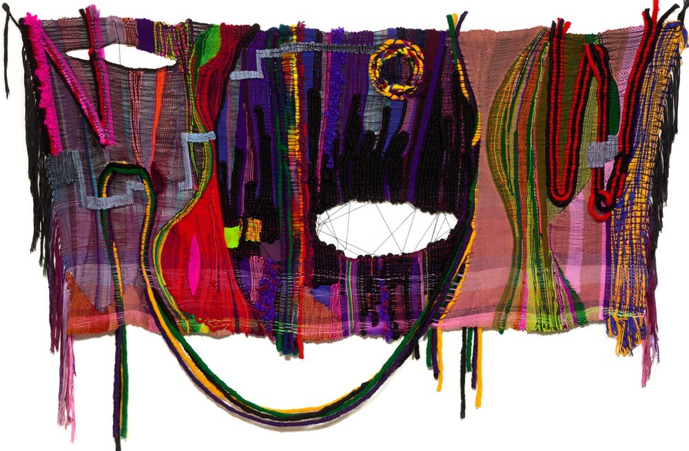 "wool, acrylic, cotton, hemp, metallic fibers  54"" x 84"""