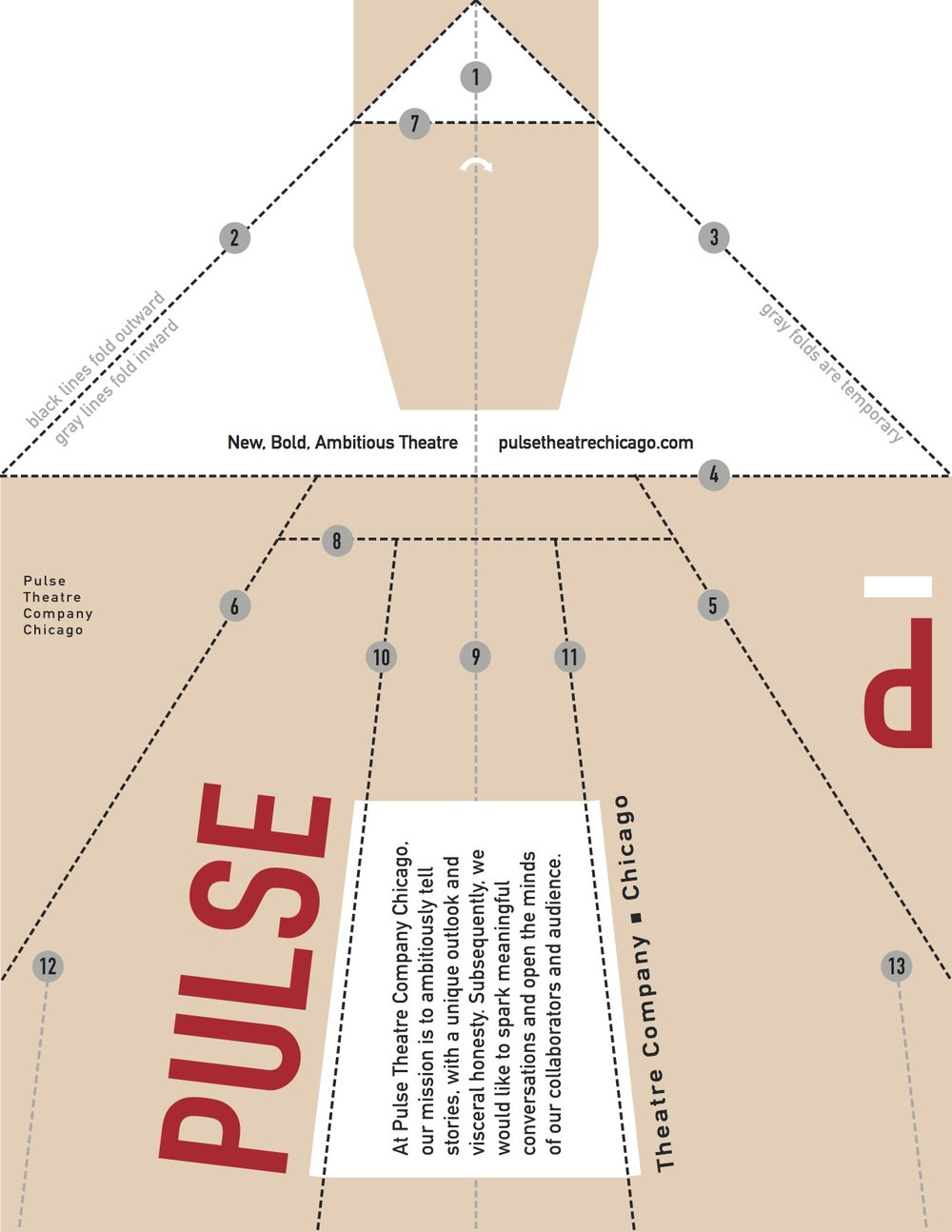 Paper Airplane guerrilla flyer for Pulse Theatre Company, Chris Jackson; 2014;  role: designer;  This flyer comprised of an interactive and playful hook to grab attention in the Chicago loop.