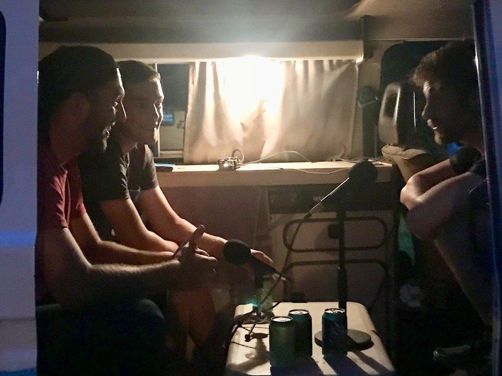 Bobby, Zach, and Ryan in the VW Westfalia.