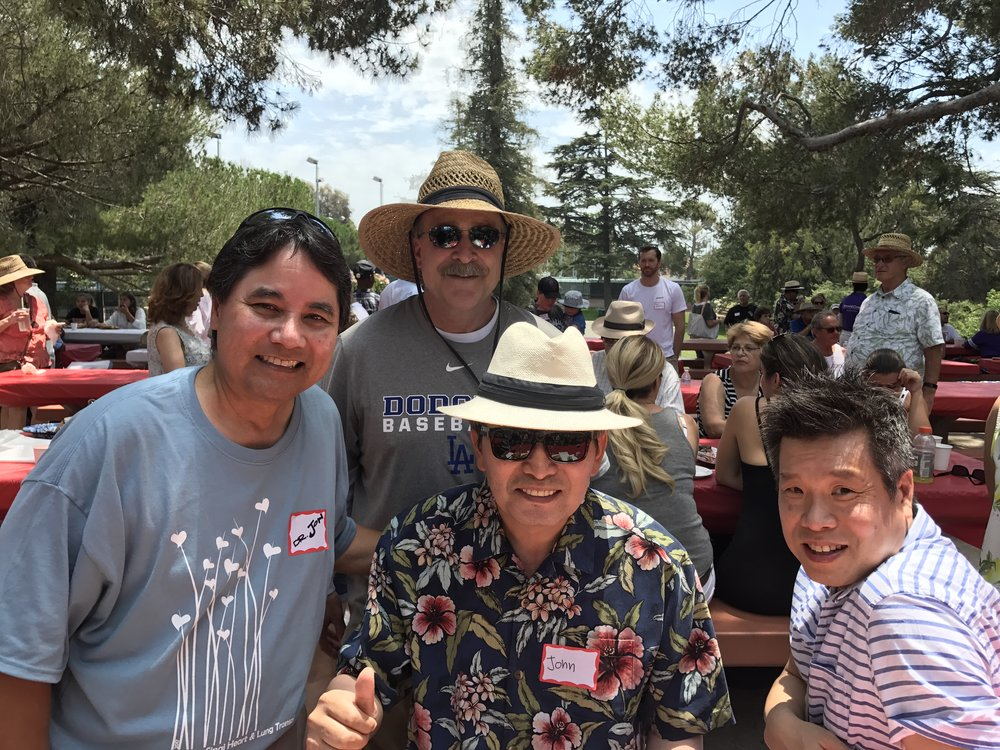 Dad with Cedars Sinai staff members Dr. Kobashigawa (left), Dr. Lee (right) and Steve Williams, fellow TAH patient (back)