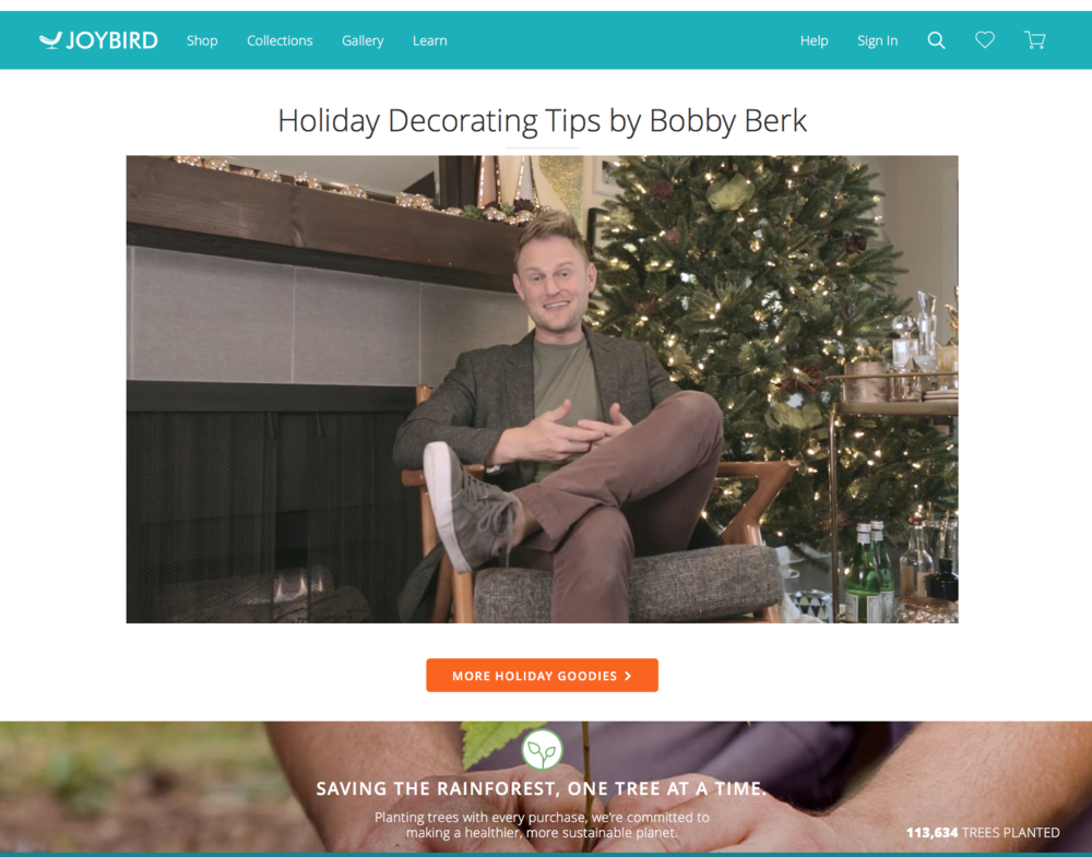 Check out Joybird's Holiday giveaways and decorating tips by Bobby Berk.