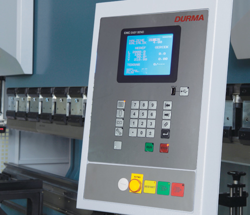 Durma CNC Easy Bend  - More effective and basic control than conventional press brakes - 5 minutes training time - More productive than conventional press brakes - More profitible than conventional press brakes - Less maintainence than conventional press brakes - Simplified screen with less keys - Easy to operate - No program required - Easy to follow bending steps  - Punch and Die in memory - Correction possibility - USB interface - Easy upgrade possibility to programmable CNC Advantage control unit